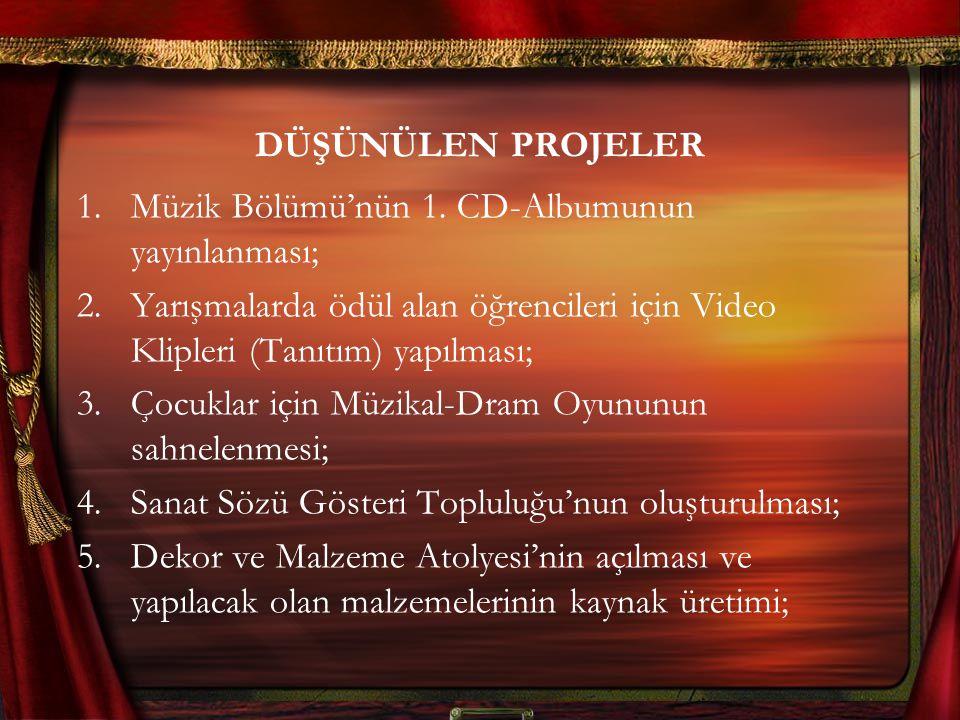 DÜŞÜNÜLEN PROJELER 1.Müzik Bölümü'nün 1. CD-Albumunun yayınlanması; 2.Yarışmalarda ödül alan öğrencileri için Video Klipleri (Tanıtım) yapılması; 3.Ço