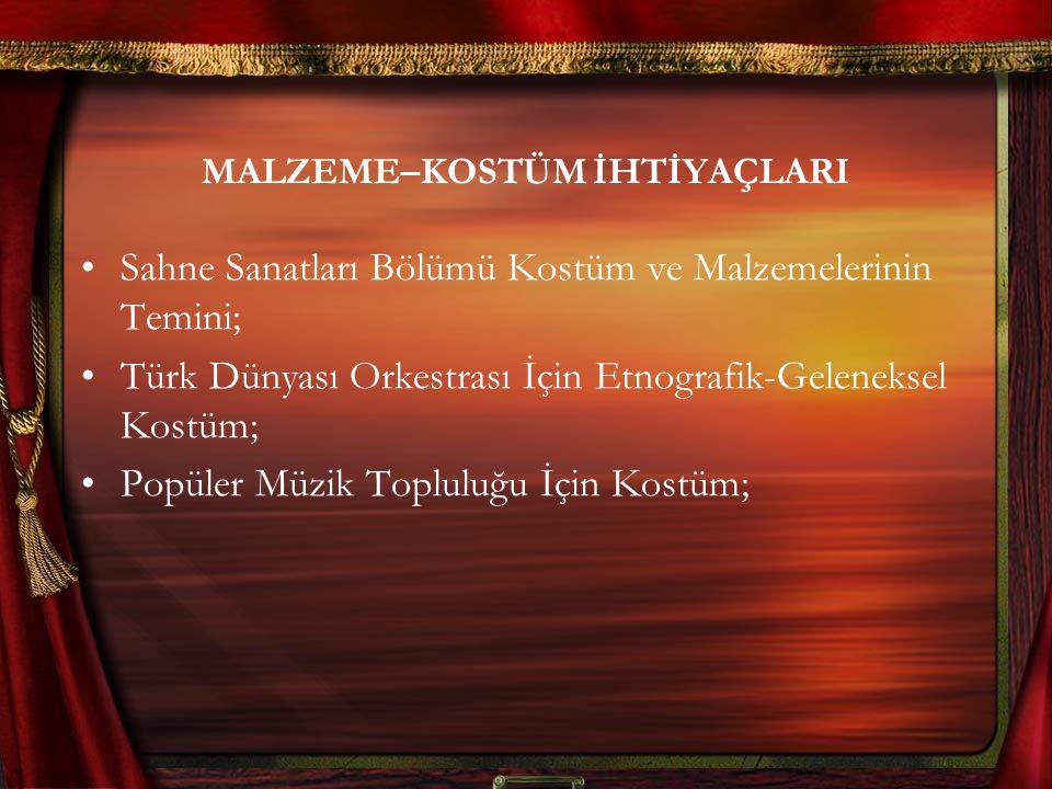 MALZEME–KOSTÜM İHTİYAÇLARI Sahne Sanatları Bölümü Kostüm ve Malzemelerinin Temini; Türk Dünyası Orkestrası İçin Etnografik-Geleneksel Kostüm; Popüler Müzik Topluluğu İçin Kostüm;