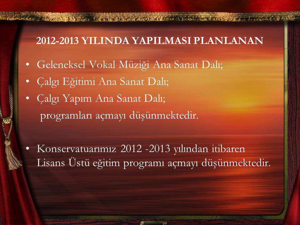 2012-2013 YILINDA YAPILMASI PLANLANAN Geleneksel Vokal Müziği Ana Sanat Dalı; Çalgı Eğitimi Ana Sanat Dalı; Çalgı Yapım Ana Sanat Dalı; programları açmayı düşünmektedir.