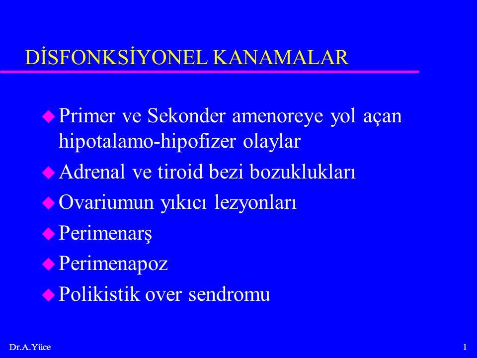 Dr.A.Yüce1 DİSFONKSİYONEL KANAMALAR u Primer ve Sekonder amenoreye yol açan hipotalamo-hipofizer olaylar u Adrenal ve tiroid bezi bozuklukları u Ovari