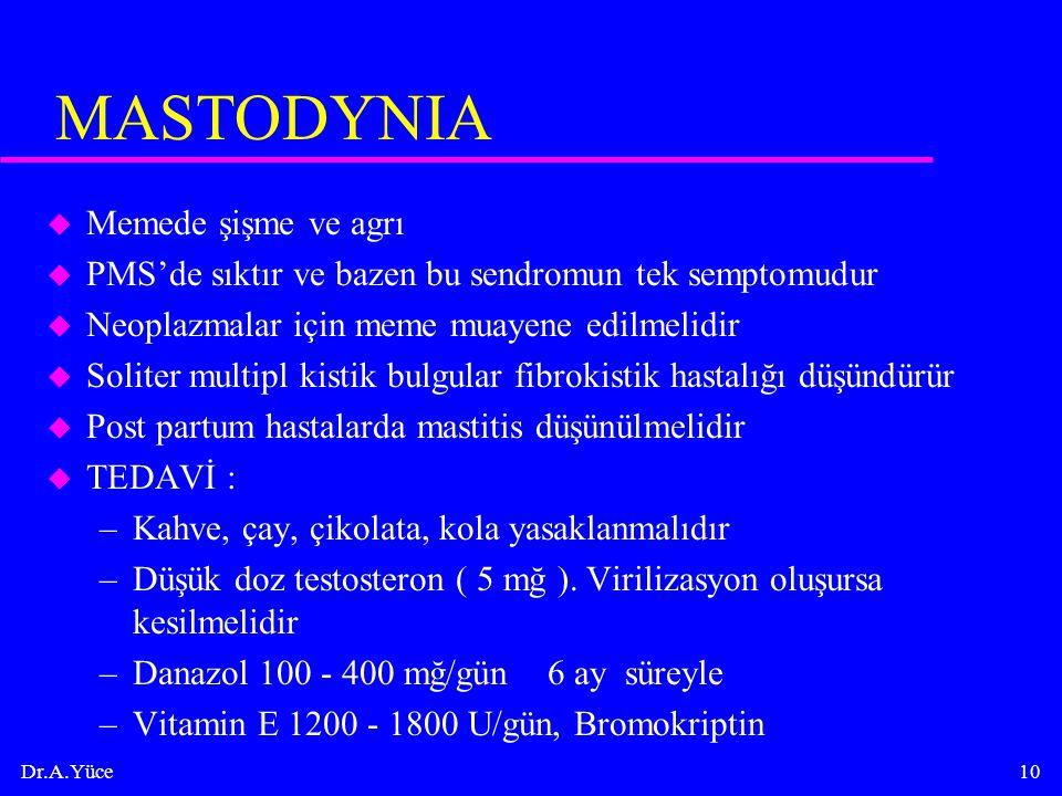 Dr.A.Yüce10 MASTODYNIA u Memede şişme ve agrı u PMS'de sıktır ve bazen bu sendromun tek semptomudur u Neoplazmalar için meme muayene edilmelidir u Sol