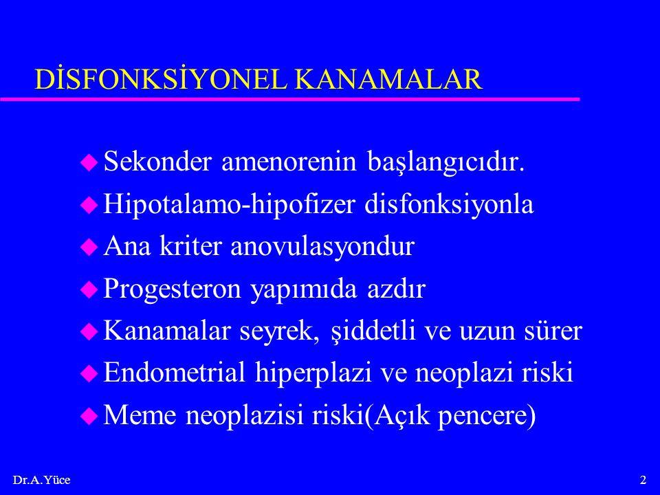 Dr.A.Yüce2 DİSFONKSİYONEL KANAMALAR u Sekonder amenorenin başlangıcıdır. u Hipotalamo-hipofizer disfonksiyonla u Ana kriter anovulasyondur u Progester