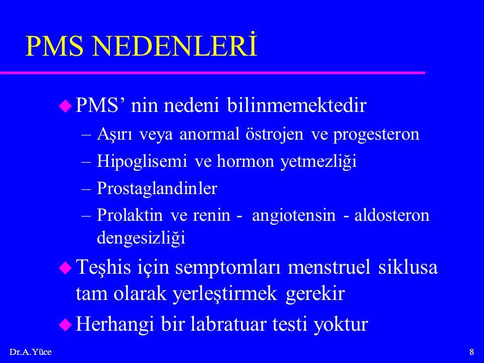 Dr.A.Yüce8 PMS NEDENLERİ u PMS' nin nedeni bilinmemektedir –Aşırı veya anormal östrojen ve progesteron –Hipoglisemi ve hormon yetmezliği –Prostaglandi