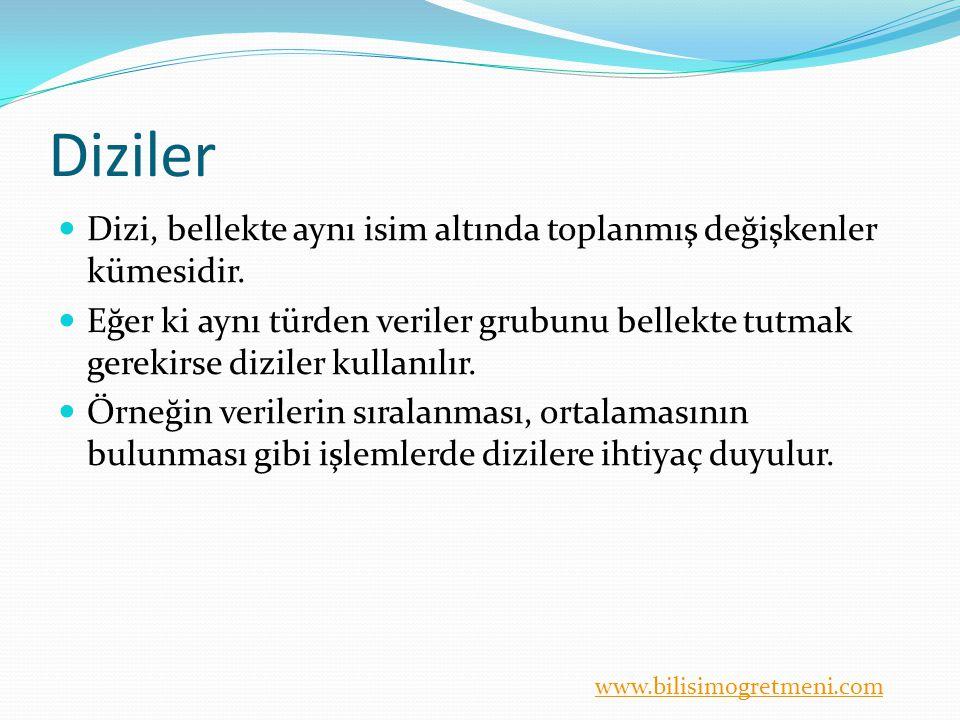 www.bilisimogretmeni.com Diziler Aynı türden bilgilerin bir değişkenin içerisinde tutulmasıyla oluşturulur.
