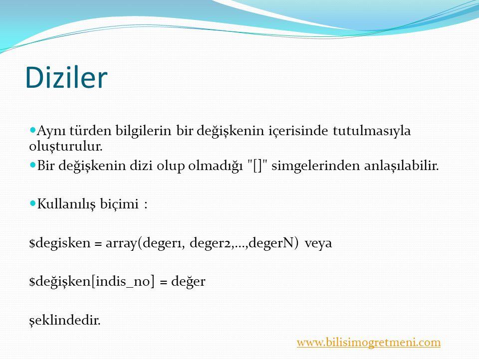 www.bilisimogretmeni.com Çok boyutlu diziler Şimdi de aynı diziyi iki farklı şekilde daha tanımlayalım.