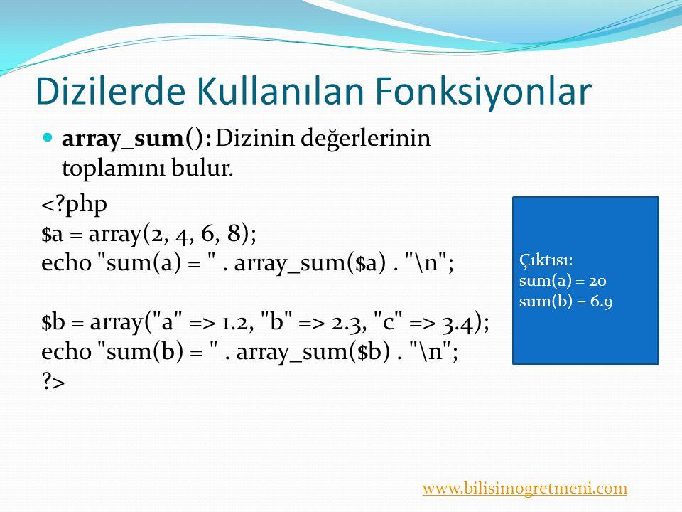 www.bilisimogretmeni.com Dizilerde Kullanılan Fonksiyonlar array_sum(): Dizinin değerlerinin toplamını bulur.