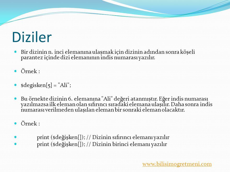 www.bilisimogretmeni.com Diziler Diziler tanımlanırken array komutu kullanılmayabilir.