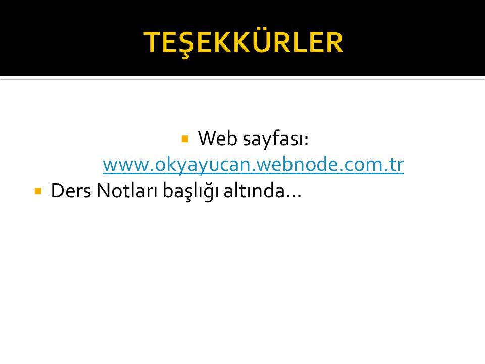  Web sayfası: www.okyayucan.webnode.com.tr www.okyayucan.webnode.com.tr  Ders Notları başlığı altında...