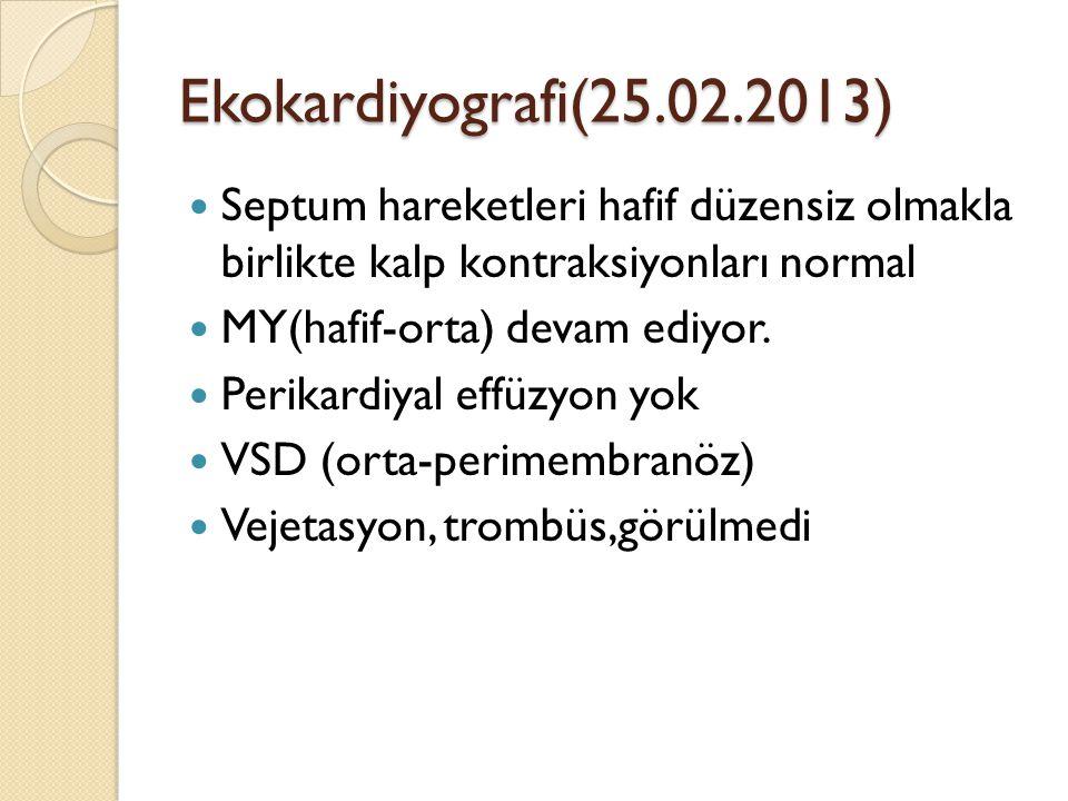 Ekokardiyografi(25.02.2013) Septum hareketleri hafif düzensiz olmakla birlikte kalp kontraksiyonları normal MY(hafif-orta) devam ediyor.