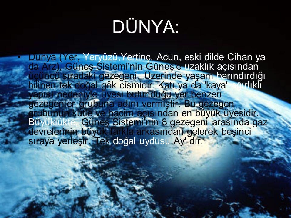 DÜNYA: Dünya (Yer, Yeryüzü,Yertinç, Acun, eski dilde Cihan ya da Arz), Güneş Sistemi'nin Güneş'e uzaklık açısından üçüncü sıradaki gezegeni. Üzerinde