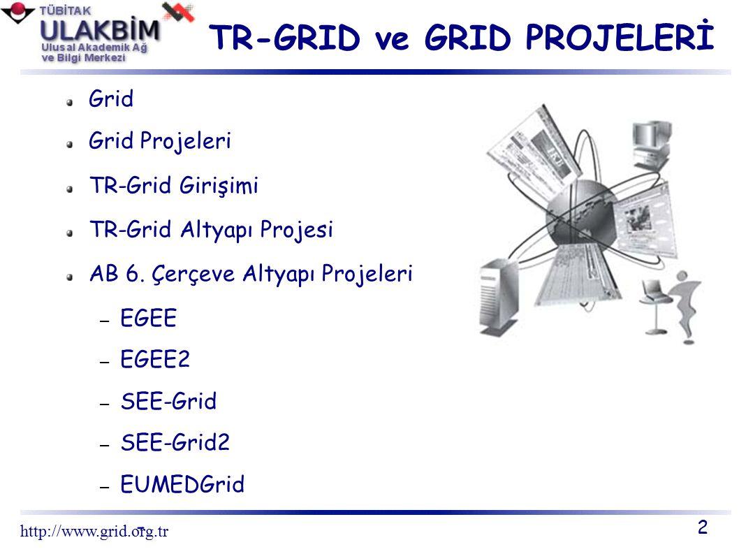 TR-GRID GİRİŞİMİ Hedefler Ulusal kullanıcı kitlesini yüksek başarımlı bilgi işleme, grid yapıları ve uluslarası grid projeleri konularında bilgilendirmek Bölgesel uygulamalar geliştirmek Ulusal grid altyapısını kurmak Uluslararası grid projelerinde etkin olarak yer almak Akademik ve ticari dünya ile yüksek başarımlı kaynakları geliştirmek ve artırmak için çalışmak 23 http://www.grid.org.tr