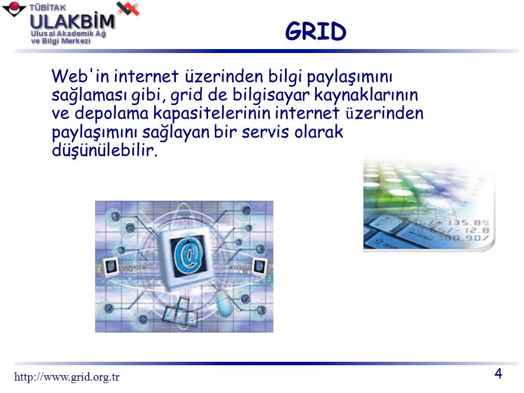 GRID PROJELERİ 15 http://www.grid.org.tr Grid Teknoloji Projeleri – GRACE – GRIDBUS – GRIP – LEGION – NAREGI – NSF MIDDLEWARE INITIATIVE – UNICORE Plus