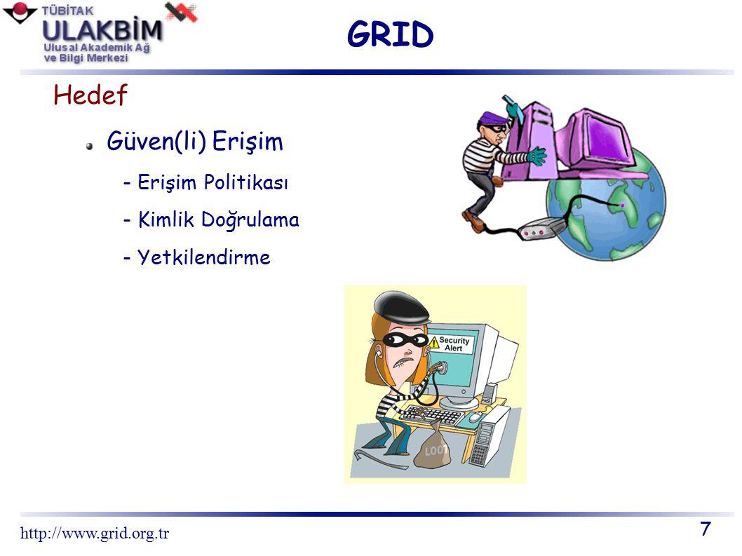 GRID Hedef Uzaklığın kayboluşu - Ağ Teknolojisi Açık standartlar - GGF – Global Grid Forum - OGSA - Open Grid Services Architecture 8 http://www.grid.org.tr