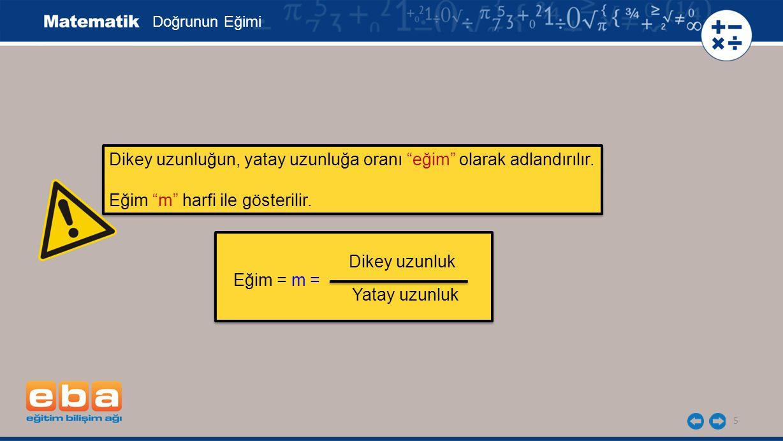 """5 Doğrunun Eğimi Dikey uzunluğun, yatay uzunluğa oranı """"eğim"""" olarak adlandırılır. Eğim """"m"""" harfi ile gösterilir. Dikey uzunluğun, yatay uzunluğa oran"""