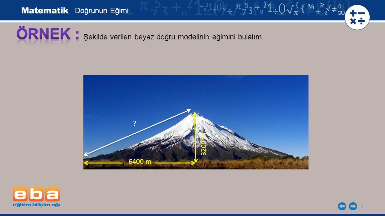 6 Şekilde verilen beyaz doğru modelinin eğimini bulalım. Doğrunun Eğimi 3200 m 6400 m ?