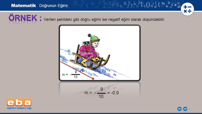 9 Verilen şekildeki gibi doğru eğimi ise negatif eğim olarak düşünülebilir. Doğrunun Eğimi m = - 9 10 m = - = -0,9 9 10