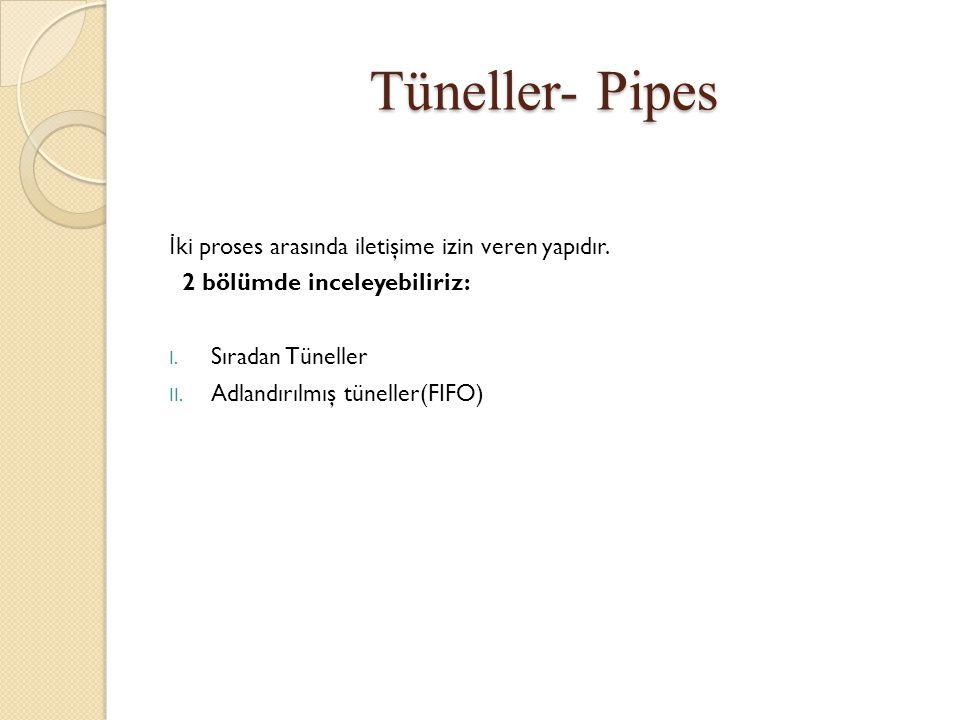 Tüneller- Pipes İ ki proses arasında iletişime izin veren yapıdır. 2 bölümde inceleyebiliriz: I. Sıradan Tüneller II. Adlandırılmış tüneller(FIFO)