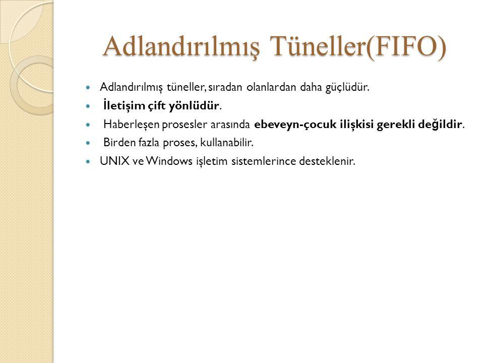 Adlandırılmış Tüneller(FIFO) Adlandırılmış tüneller, sıradan olanlardan daha güçlüdür. İ letişim çift yönlüdür. Haberleşen prosesler arasında ebeveyn-