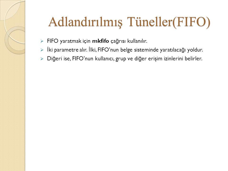 Adlandırılmış Tüneller(FIFO)  FIFO yaratmak için mkfifo ça ğ rısı kullanılır.  İ ki parametre alır. İ lki, FIFO'nun belge sisteminde yaratılaca ğ ı