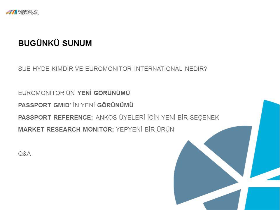 © Euromonitor International 2 BUGÜNKÜ SUNUM SUE HYDE KİMDİR VE EUROMONITOR INTERNATIONAL NEDİR? EUROMONITOR'ÜN YENİ GÖRÜNÜMÜ PASSPORT GMID' İN YENİ GÖ