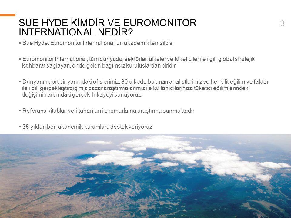 © Euromonitor International 3 SUE HYDE KİMDİR VE EUROMONITOR INTERNATIONAL NEDİR?  Sue Hyde: Euromonitor International' ün akademik temsilcisi  Euro