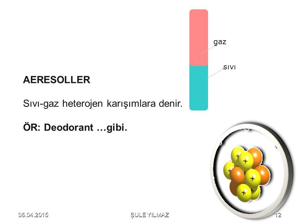 AERESOLLER Sıvı-gaz heterojen karışımlara denir. ÖR: Deodorant …gibi. gaz sıvı 06.04.201512ŞULE YILMAZ