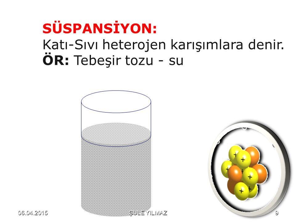 SÜSPANSİYON: Katı-Sıvı heterojen karışımlara denir. ÖR: Tebeşir tozu - su 06.04.20159ŞULE YILMAZ