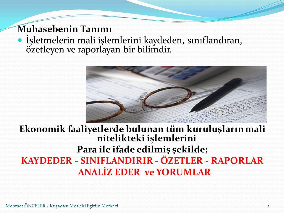 Mehmet ÖNCELER / Kuşadası Mesleki Eğitim Merkezi53 Müstahsil makbuzunda; a.