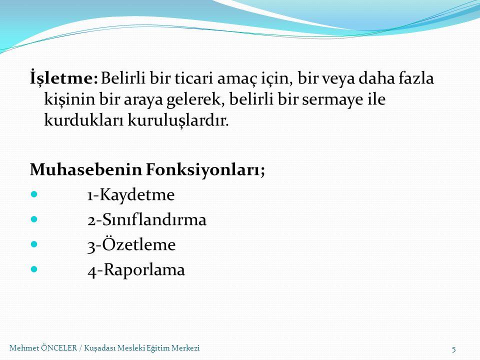 Mehmet ÖNCELER / Kuşadası Mesleki Eğitim Merkezi76 Türk Ticaret Kanununun 615.
