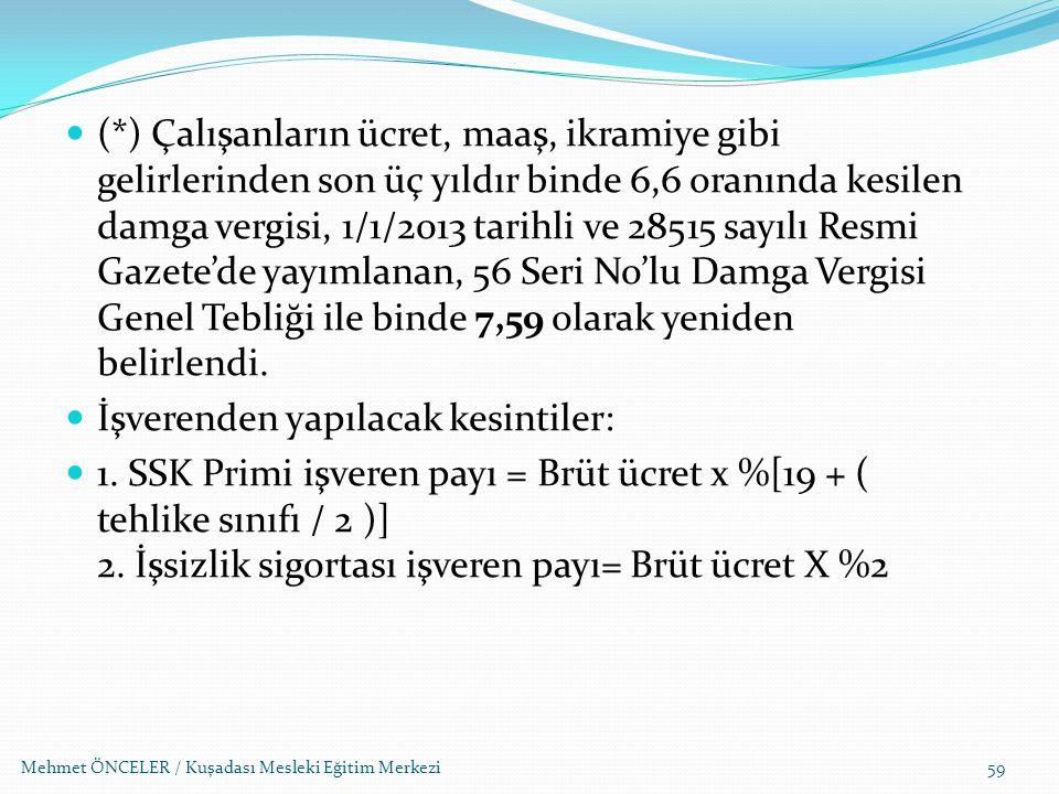 Mehmet ÖNCELER / Kuşadası Mesleki Eğitim Merkezi59 (*) Çalışanların ücret, maaş, ikramiye gibi gelirlerinden son üç yıldır binde 6,6 oranında kesilen
