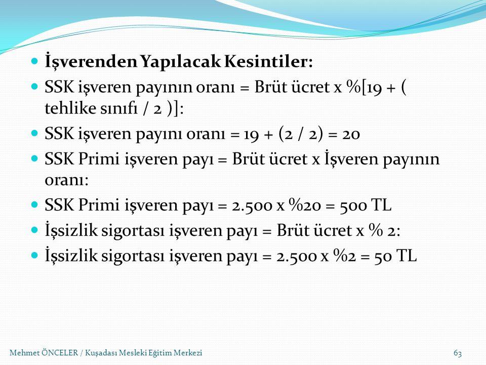 Mehmet ÖNCELER / Kuşadası Mesleki Eğitim Merkezi63 İşverenden Yapılacak Kesintiler: SSK işveren payının oranı = Brüt ücret x %[19 + ( tehlike sınıfı /