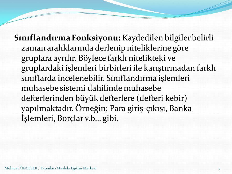Mehmet ÖNCELER / Kuşadası Mesleki Eğitim Merkezi Türk Ticaret Kanunu ve Vergi Usul Kanununa göre vergiye tabi işlemler ticari defterlerdeki kayıtlara göre tespit edilir.