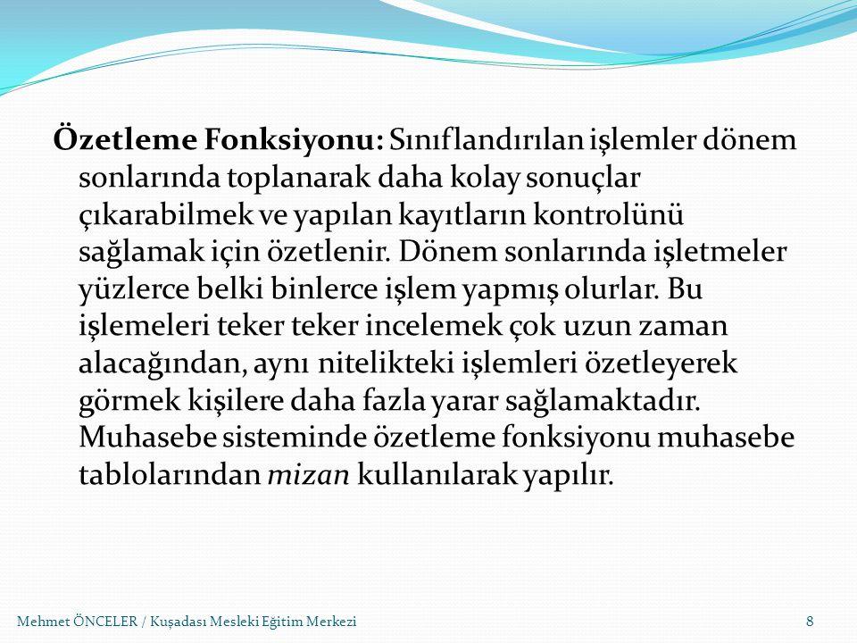 Mehmet ÖNCELER / Kuşadası Mesleki Eğitim Merkezi99 TİCARİ DEFTERLER Türk Ticaret Kanunu, Vergi Kanunları ve ilgili diğer kanunlar uyarınca, ticaretle uğraşanlar bazı ticari defterleri tutmak zorundadırlar.