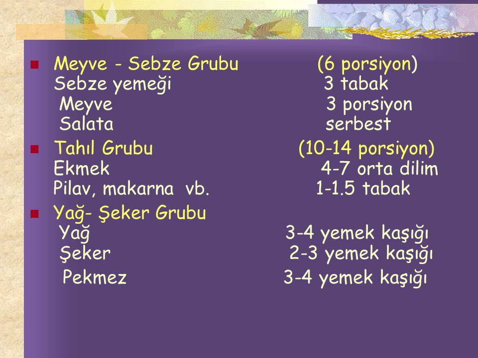 Meyve - Sebze Grubu (6 porsiyon) Sebze yemeği 3 tabak Meyve 3 porsiyon Salata serbest Tahıl Grubu (10-14 porsiyon) Ekmek 4-7 orta dilim Pilav, makarna vb.