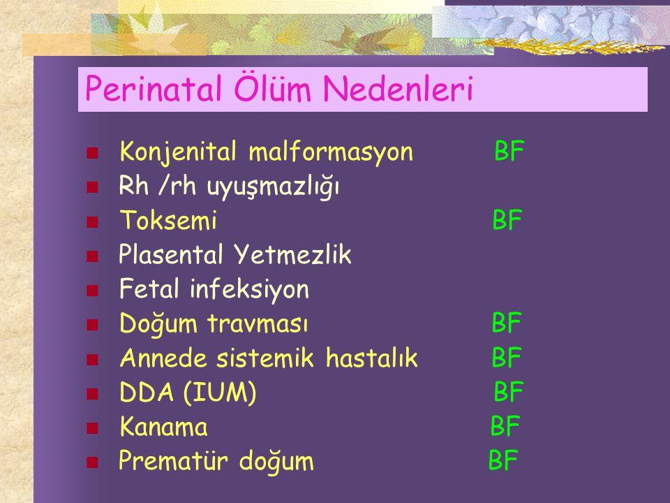 Perinatal Ölüm Nedenleri Konjenital malformasyon BF Rh /rh uyuşmazlığı Toksemi BF Plasental Yetmezlik Fetal infeksiyon Doğum travması BF Annede sistemik hastalık BF DDA (IUM) BF Kanama BF Prematür doğum BF