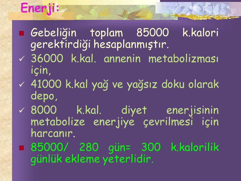 Enerji: Gebeliğin toplam 85000 k.kalori gerektirdiği hesaplanmıştır.