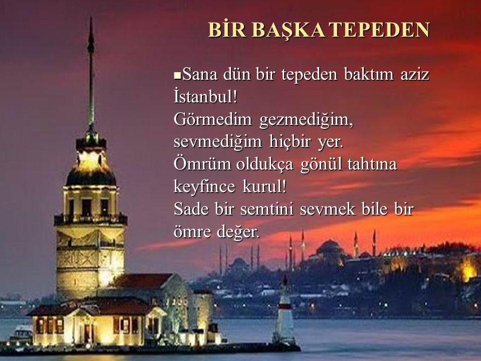 BİR BAŞKA TEPEDEN Sana dün bir tepeden baktım aziz İstanbul! Görmedim gezmediğim, sevmediğim hiçbir yer. Ömrüm oldukça gönül tahtına keyfince kurul! S