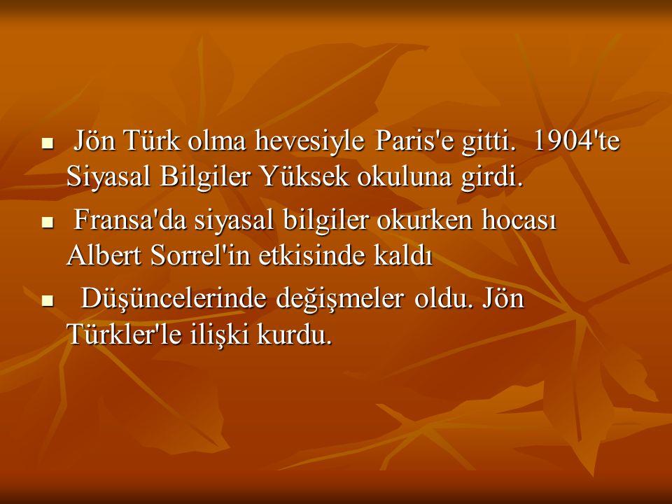 Jön Türk olma hevesiyle Paris'e gitti. 1904'te Siyasal Bilgiler Yüksek okuluna girdi. Jön Türk olma hevesiyle Paris'e gitti. 1904'te Siyasal Bilgiler