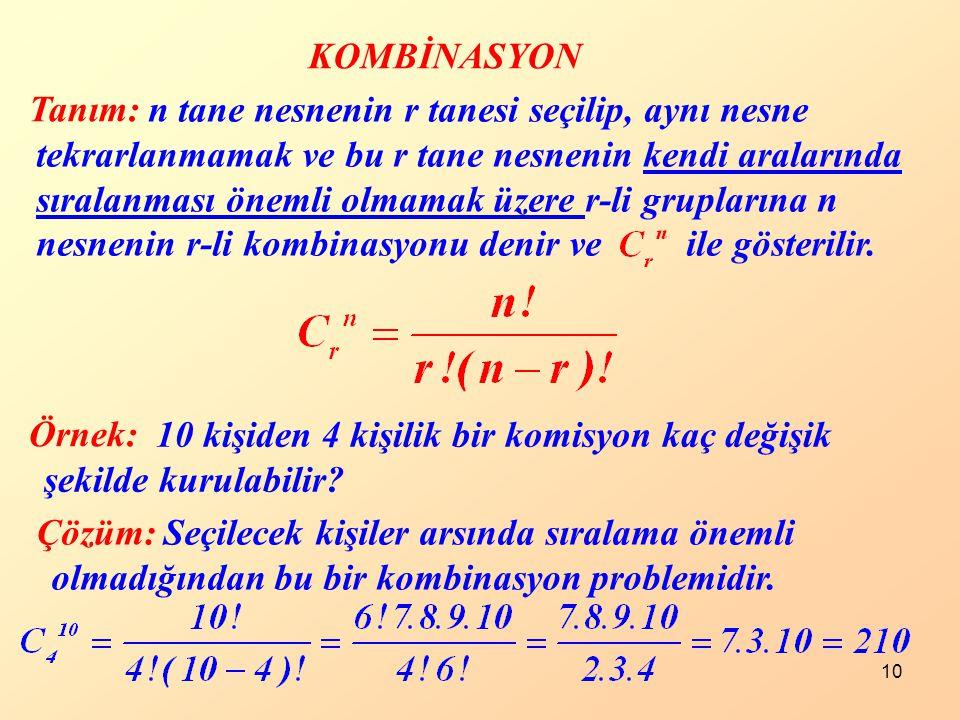 n tane nesnenin r tanesi seçilip, aynı nesne tekrarlanmamak ve bu r tane nesnenin kendi aralarında sıralanması önemli olmamak üzere r-li gruplarına n nesnenin r-li kombinasyonu denir ve ile gösterilir.