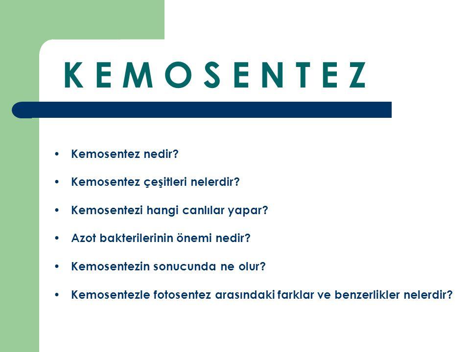 K E M O S E N T E Z Kemosentez nedir? Kemosentez çeşitleri nelerdir? Kemosentezi hangi canlılar yapar? Azot bakterilerinin önemi nedir? Kemosentezin s