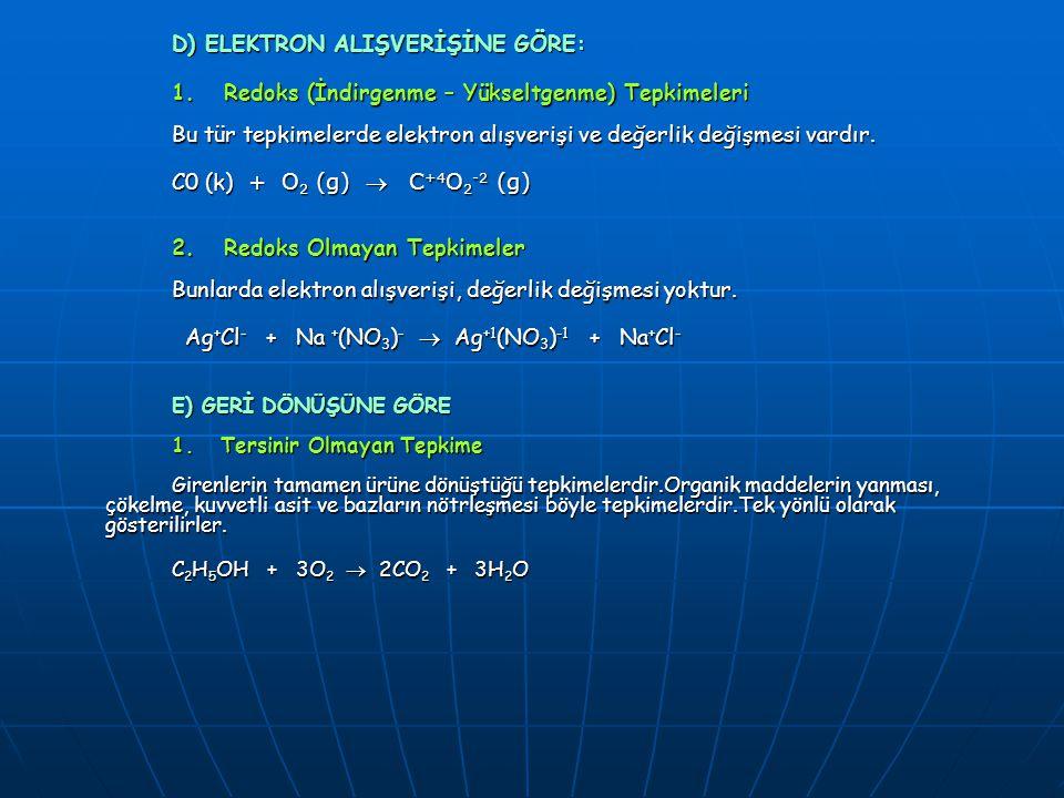 D) ELEKTRON ALIŞVERİŞİNE GÖRE: 1. Redoks (İndirgenme – Yükseltgenme) Tepkimeleri Bu tür tepkimelerde elektron alışverişi ve değerlik değişmesi vardır.