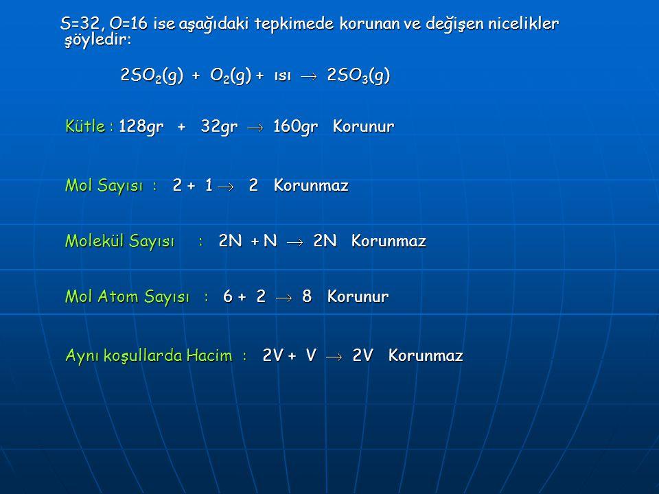 S=32, O=16 ise aşağıdaki tepkimede korunan ve değişen nicelikler şöyledir: S=32, O=16 ise aşağıdaki tepkimede korunan ve değişen nicelikler şöyledir: