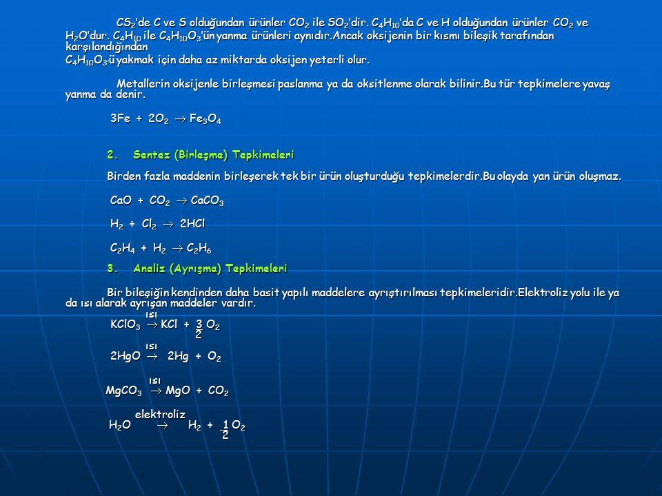 CS 2 'de C ve S olduğundan ürünler CO 2 ile SO 2 'dir. C 4 H 10 'da C ve H olduğundan ürünler CO 2 ve CS 2 'de C ve S olduğundan ürünler CO 2 ile SO 2