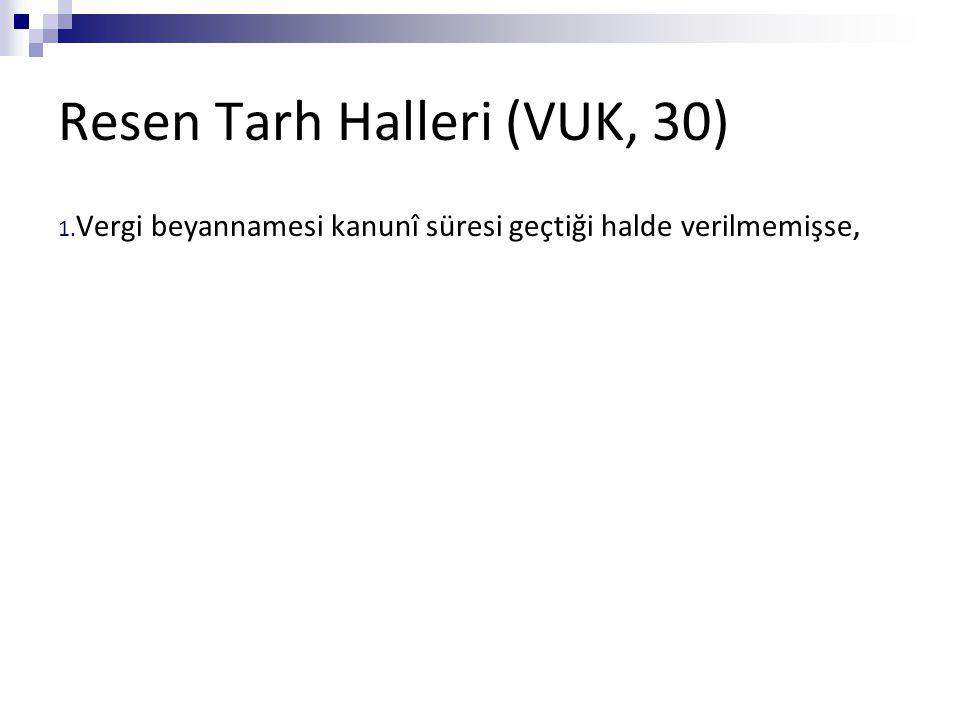 Resen Tarh Halleri (VUK, 30) 1. Vergi beyannamesi kanunî süresi geçtiği halde verilmemişse,