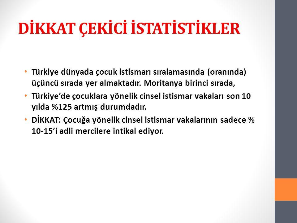 DİKKAT ÇEKİCİ İSTATİSTİKLER Türkiye dünyada çocuk istismarı sıralamasında (oranında) üçüncü sırada yer almaktadır.