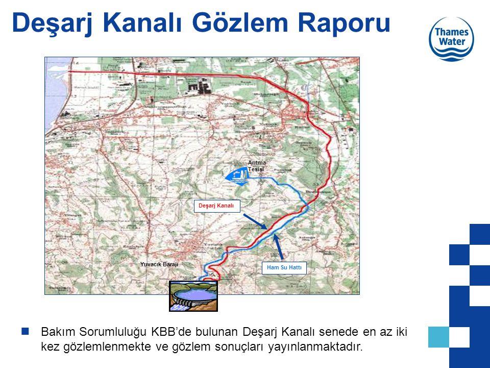 Deşarj Kanalı Gözlem Raporu Ham Su Hattı Deşarj Kanalı Arıtma Tesisi Yuvacık Barajı Bakım Sorumluluğu KBB'de bulunan Deşarj Kanalı senede en az iki ke