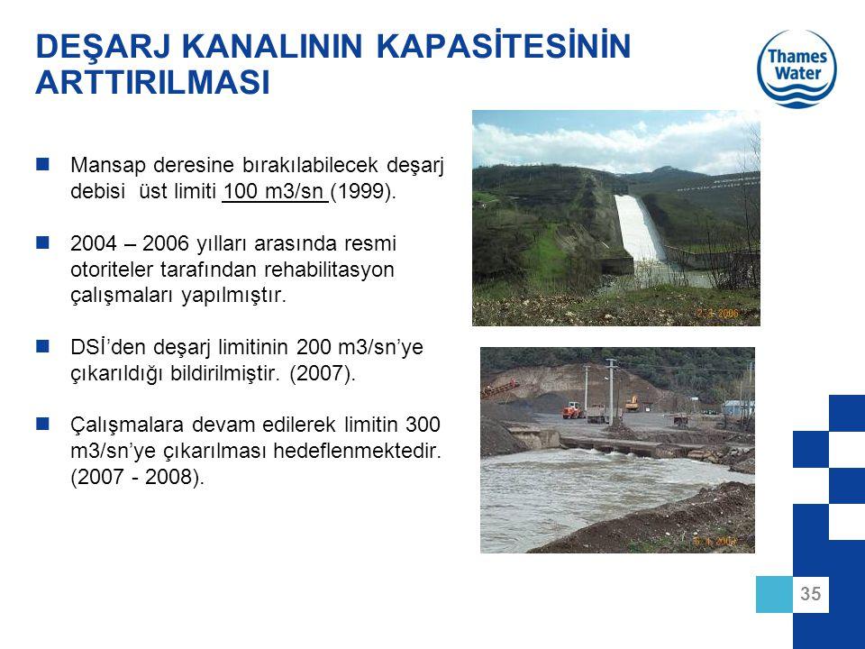 35 DEŞARJ KANALININ KAPASİTESİNİN ARTTIRILMASI Mansap deresine bırakılabilecek deşarj debisi üst limiti 100 m3/sn (1999). 2004 – 2006 yılları arasında