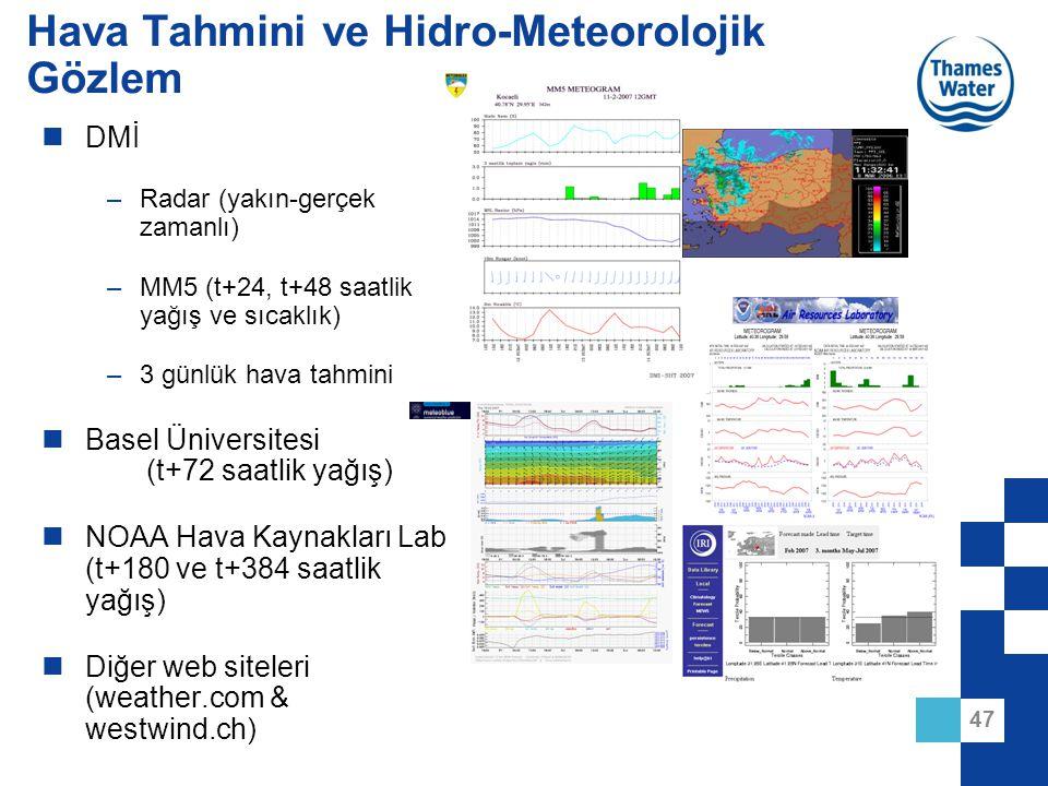 47 Hava Tahmini ve Hidro-Meteorolojik Gözlem DMİ –Radar (yakın-gerçek zamanlı) –MM5 (t+24, t+48 saatlik yağış ve sıcaklık) –3 günlük hava tahmini Base