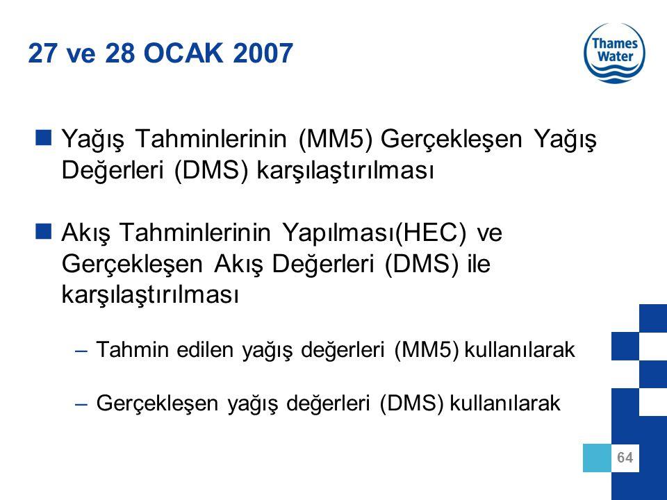64 27 ve 28 OCAK 2007 Yağış Tahminlerinin (MM5) Gerçekleşen Yağış Değerleri (DMS) karşılaştırılması Akış Tahminlerinin Yapılması(HEC) ve Gerçekleşen A