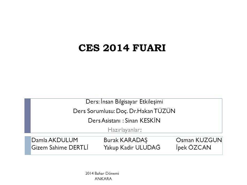 CES 2014 FUARI Ders: İ nsan Bilgisayar Etkileşimi Ders Sorumlusu: Doç.